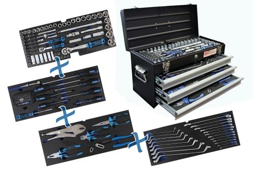metall werkzeugkoffer 3 schubladen mit 143 werkzeugen werkzeugsortimente. Black Bedroom Furniture Sets. Home Design Ideas